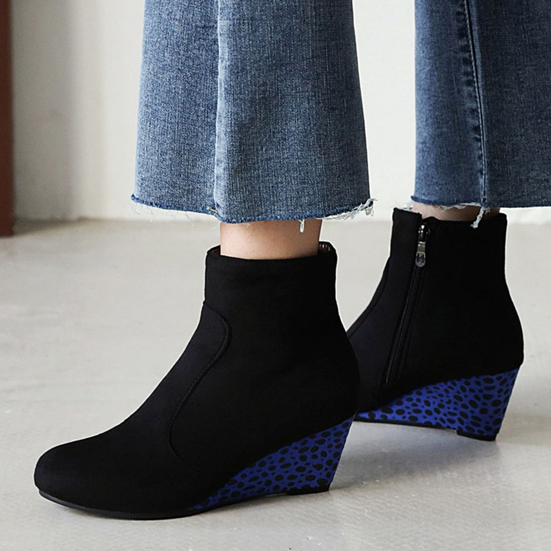 High Heels Ankle Boots Woman Shoes Zip Up Platform Flock Spring Autumn Boots Female