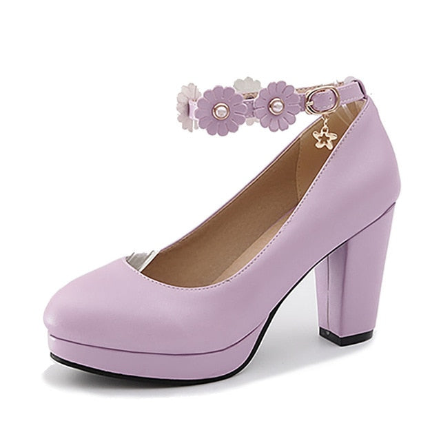 women's Brand Design Office Ladies Round Toe Large Flower Ankle Straps Spike Heels High Heels Shallow Purple Spring