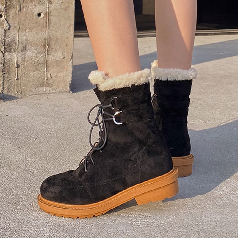 woman's new design  shoes Flock Round Toe Cross-tied Wool Blend warm Low Heels Buckle Straps Ankle Boots