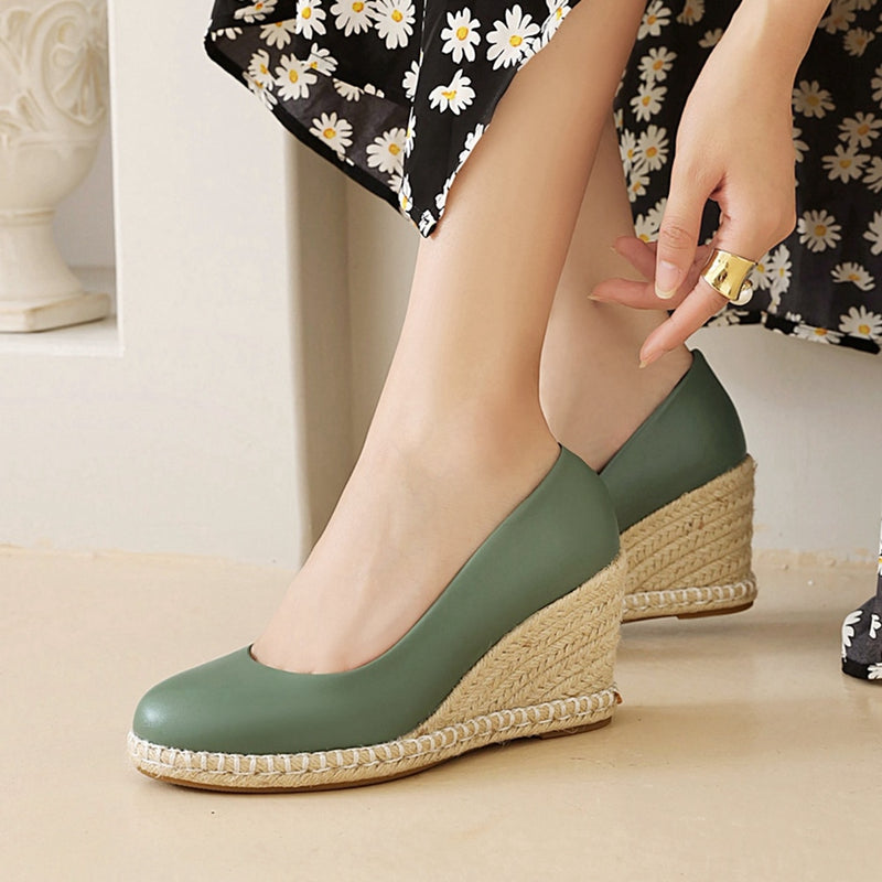 women's New Leisure Shoes Multicolor Round Toe Wedges Heels slip-on Party Shallow Plus