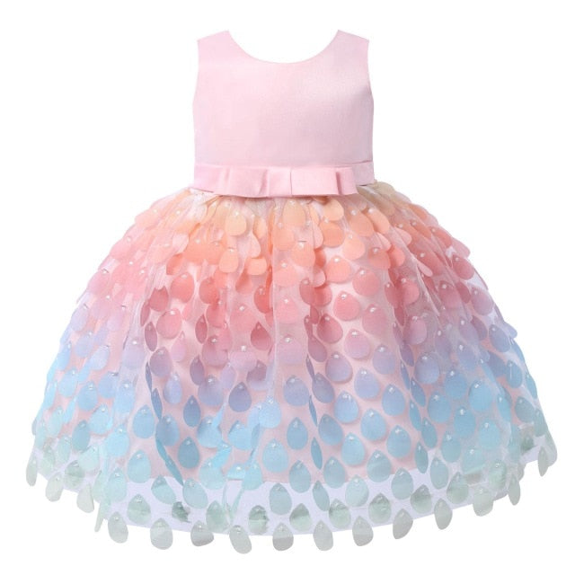 Infant Baby Girl Flower Mesh Tutu Princess Dresses Wedding Colorful Water Drop Shaped Toddler Ball Gowns Kids Dress