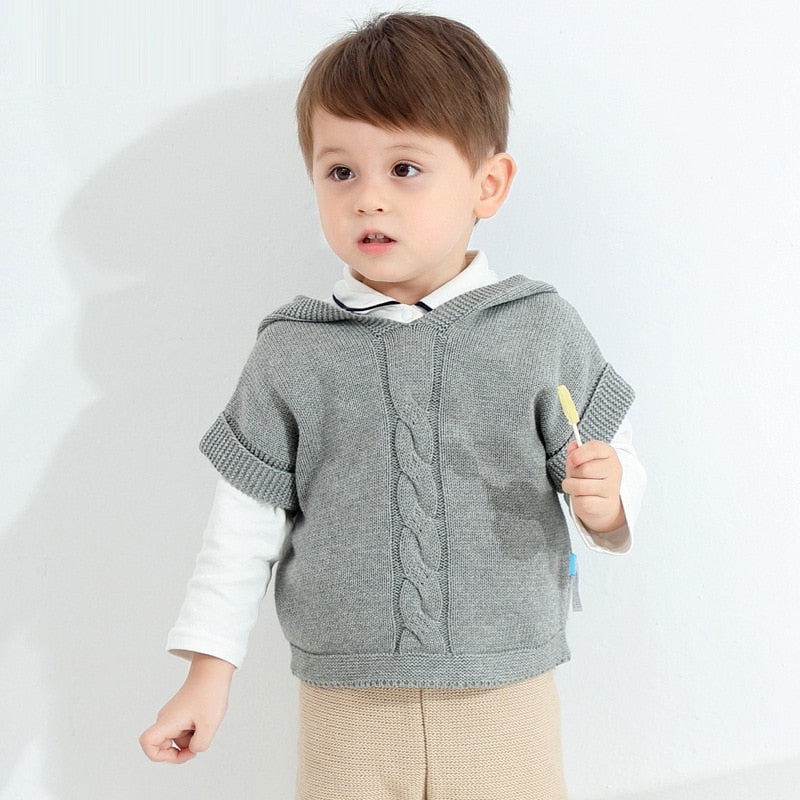 Kids Boys Knitted Vest Baby Spring and Autumn Children Clothes Coat Pure Cotton Pullover Gray Tops Sweaters