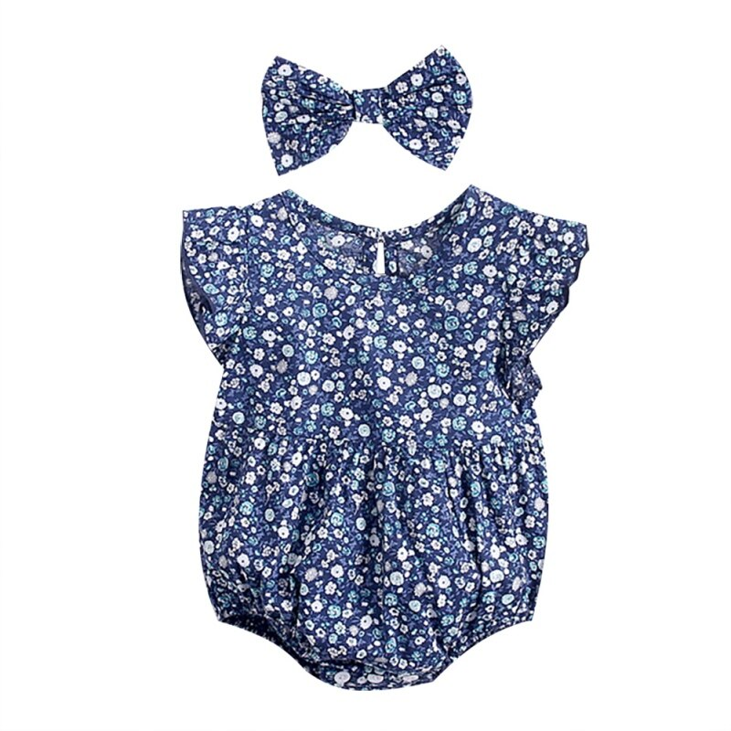 Newborn Baby Girls Clothes Sleeveless Dress+Heandband 2PCS Outfits Set Floral Printed Cute Clothing Sets Summer Sunsuit 0-24M