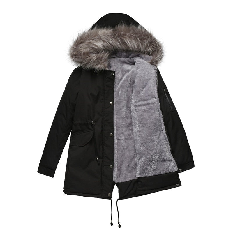 Parkas Women Winter Plus velvet Liner Cotton Jacket Hooded Outerwear Warm Big fur collar Winter Coats Female