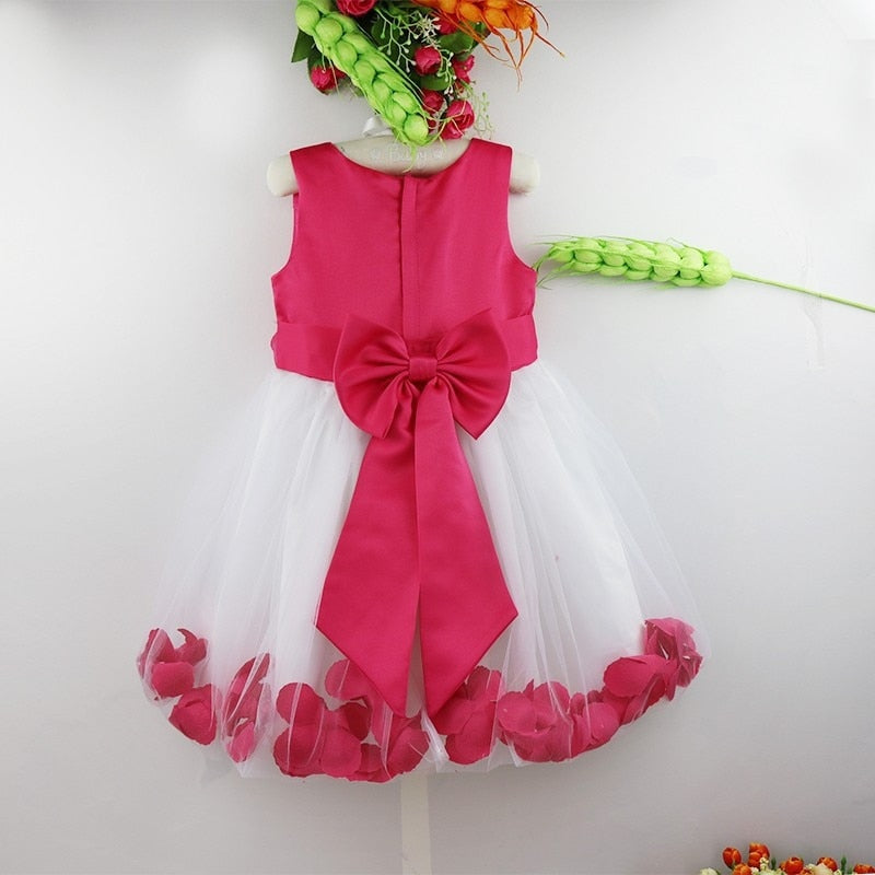 Flower Girl Dress Flower Petals Tulle Bow Sleeveless Formal Dresses for Wedding Pageant Birthday Party Girl Holy Communion Dress