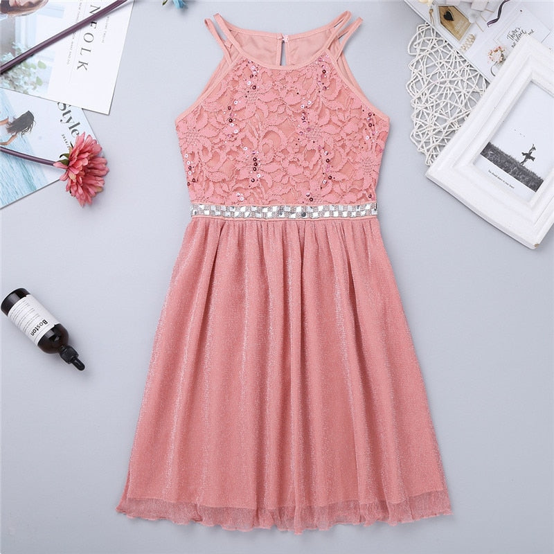 Flower Girl's Dress Sleeveless Sequined Floral Lace Shiny Tulle Princess Dress Vestidos for Wedding Birthday Party Girls Dress