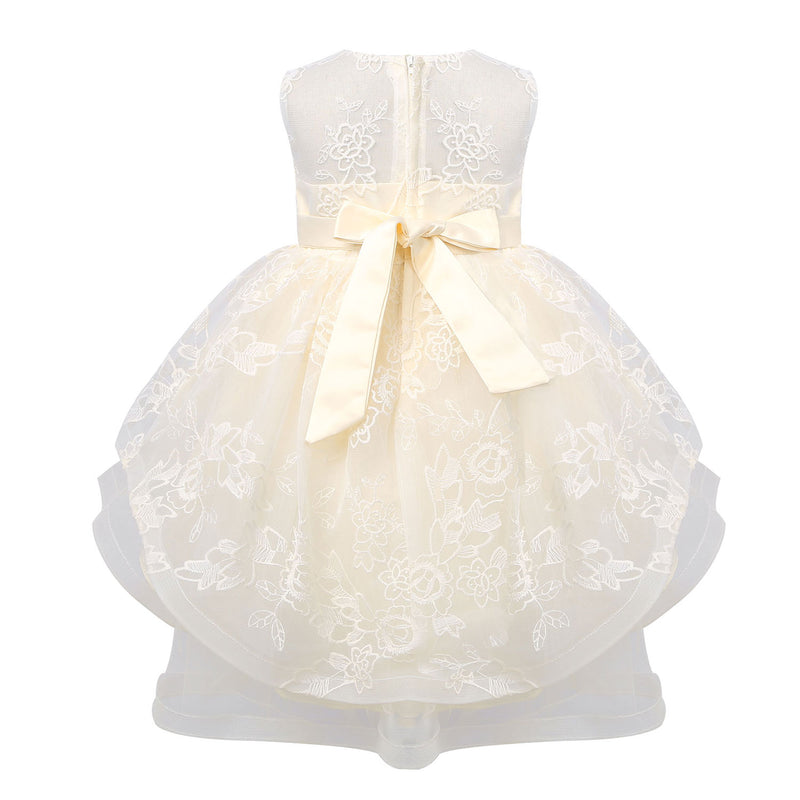 Baby Girls Dress Birthday Formal Gowns Sleeveless Lace Beaded Embroidered High-Low Hem Tutu Mesh Flower Girl Dresses For Wedding