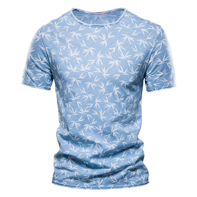 Summer 100% Cotton T-Shirt Men O-neck Short-sleeved Men's T Shirt Quality Hawaii Men Clothing Tee Shirt Male