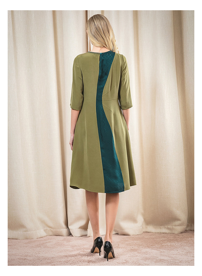 Green Boat Neck Irregular Jacquard Stitching Contrast Arch Needle Sleeve Dress