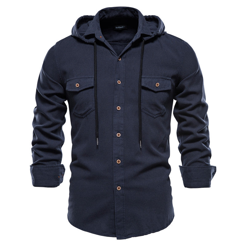 Hoodied Long Sleeve Shirt Men Solid Color 100% Cotton High Quality Shirt for Men New Spring Streetwear Men's Shirts
