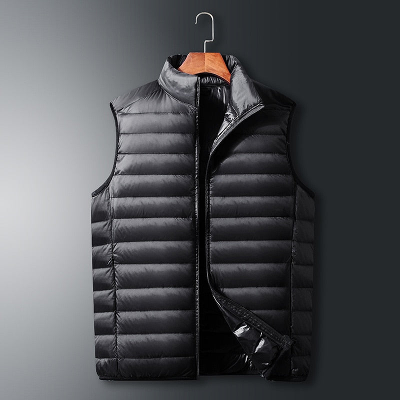Mens winter vest jacket zipper vest sleeveless light down jacket men's waistcoat stand collar Men's Photographer vest