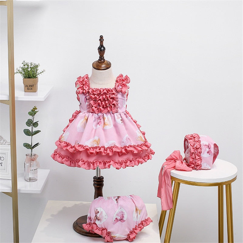 Baby Girls Spanish Dress Children Pink Ball Gowns Toddler Girl Spain Birthday Frocks European Clothing 4pcs Clothes
