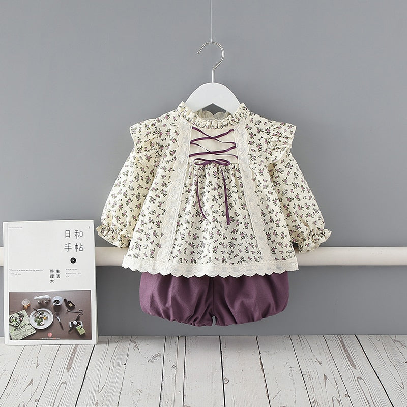2Pcs Baby Floral Princess Dress Toddler Girl 1st Birthday Party Outfits Infant Vintage Dresses whit Pant Newborn Vestidos