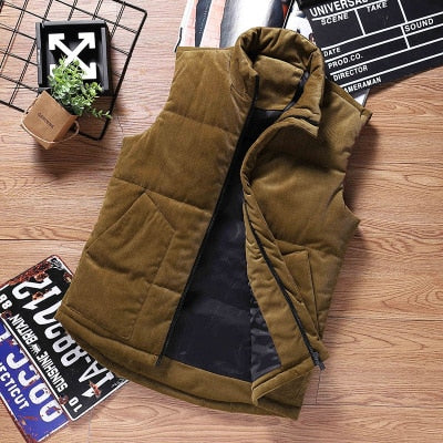 Mens Vest Jacket Vest men's autumn and winter youth version of the trend of corduroy vest warm men's Vests with pockets