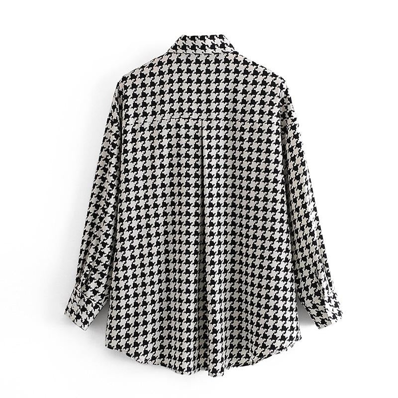 Women Elegant Houndstooth Blouse Autumn Spring Batwing Long Sleeve Loose Casual Plaid Shirt Lady Home Tunic Tops Blouses