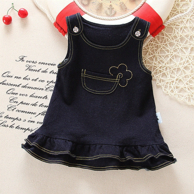 Autumn Spring Baby Girls Dress Toddler Girls Denim Dress Wedding Party Dress Clothing For Infant Baby Princess Dress