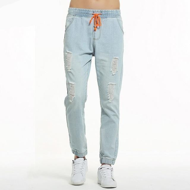 Cotton Men Jeans Quality Full Length Holes Solid Light Blue Elastic Waist Long Casual Man Denim Pants