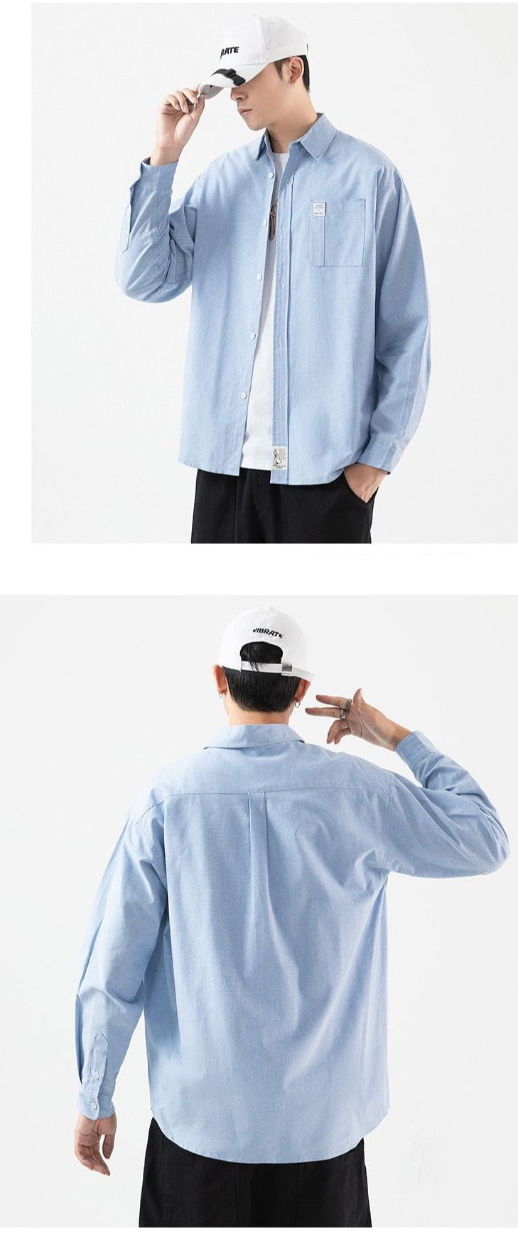 Men'S Long Sleeve Shirt Loose Japanese Streetwear Punk Casual Spring Autumn Plus Oversized M-5XL