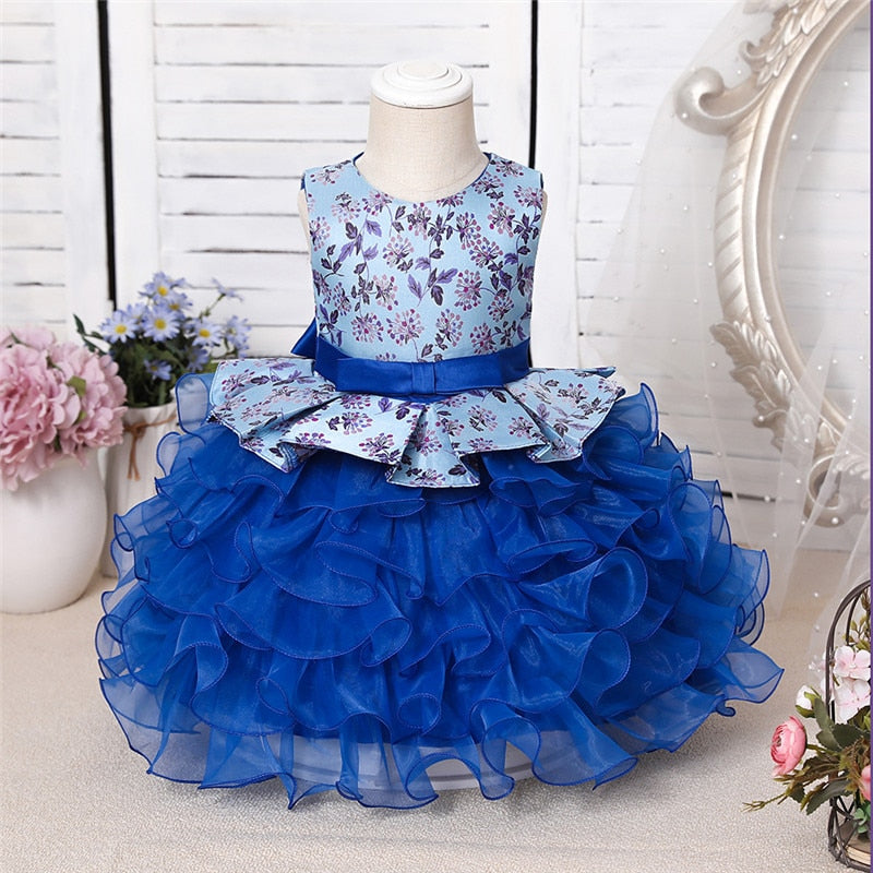 Toddler Baby Girl Infant Dress Lace Cake Tutu Baby Girl Wedding Party Dress Princess Kids Dress for Baby 1st Year Birthday