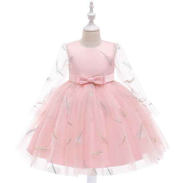 New Girl Princess Dress  Small Fragrance Long-sleeved Mesh Ball Gown Dress Feather Embroidery Children Wedding Party Clothes