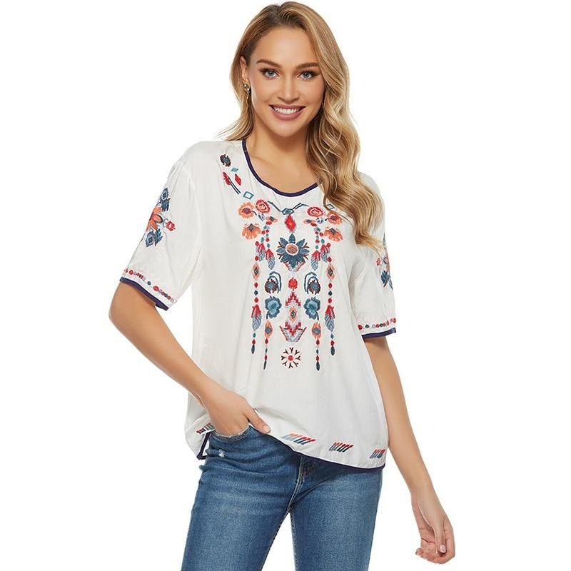Cotton Boho Floral Embroidery Blouses Mexican Spring Short Sleeve Shirt