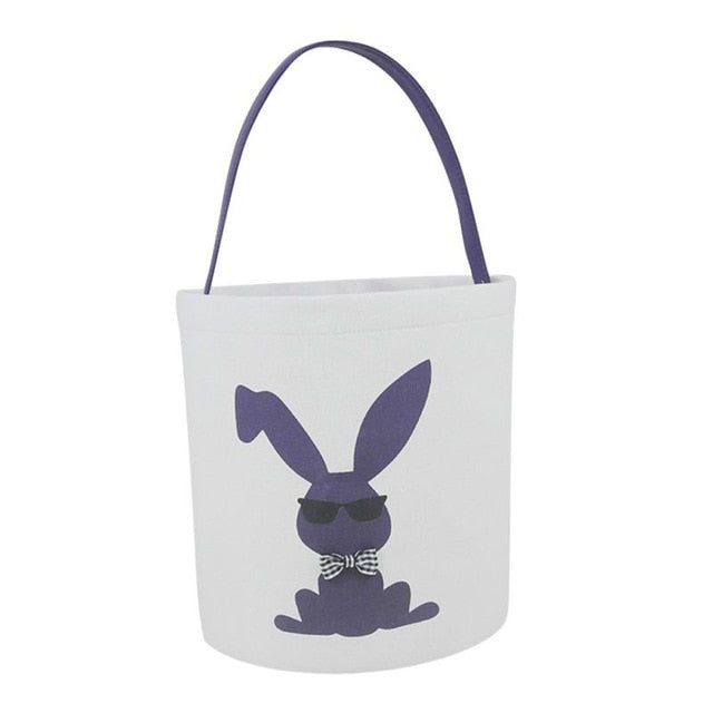 Happy Easter Burlap Bunny Ears Bags Easter Basket Canvas Bunny Buckets Easter Tote Bags with Rabbit Tail Kids Gift