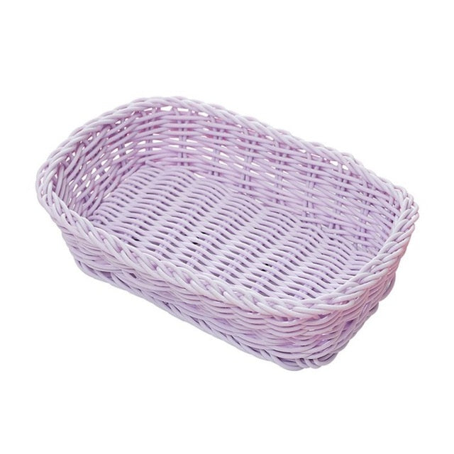 Ice Cream Macaron Color Wicker Woven Storage Basket Bread Tray Serving For Food Cosmetic Basket Photo Props
