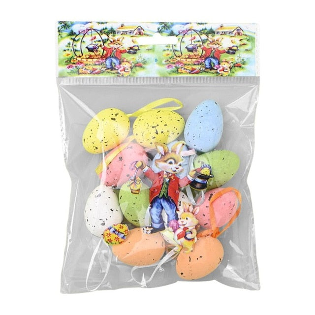 Colorful Easter Eggs Foam Eggs Decorative Hanging Ornaments For DIY Crafts Easter Decorations Easter Eggs DIY Craft Kids Gift
