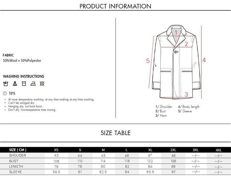 Mens Wool Blend Winter Overcoat Thick Cotton Jackets Male Coats Long Scarf Pea Fashion Outwear