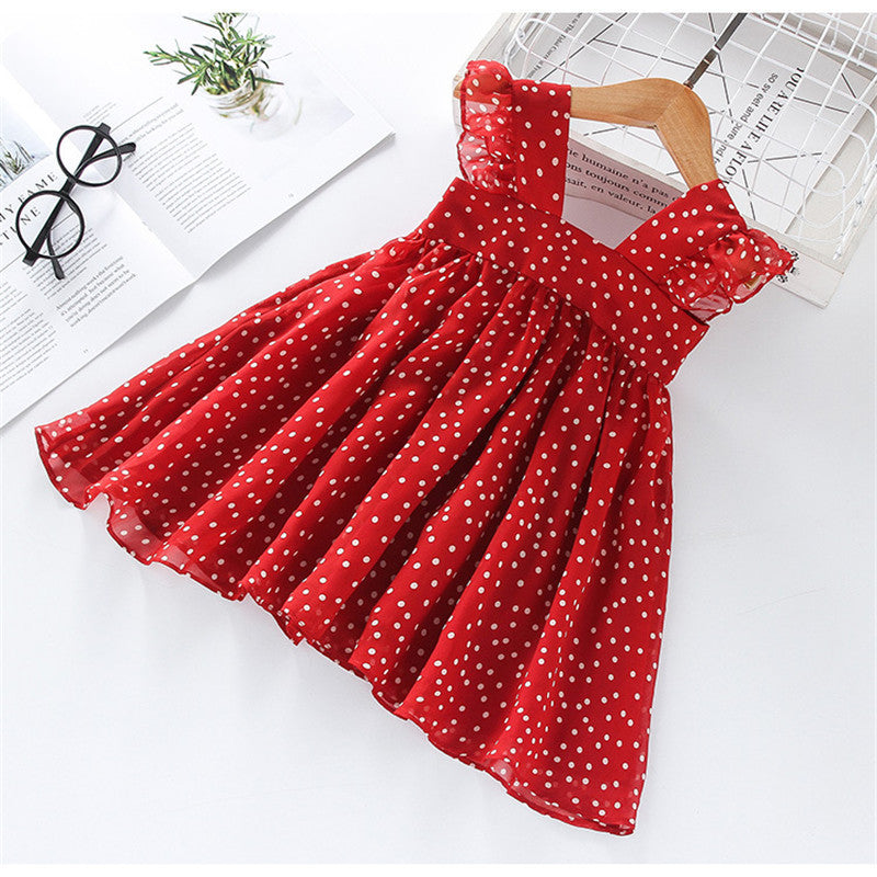 Christmas Toddler Kids Baby Girls Clothes Ruffle Swing Dress Polka Dots Dress Princess Party Dresses 2-6Years
