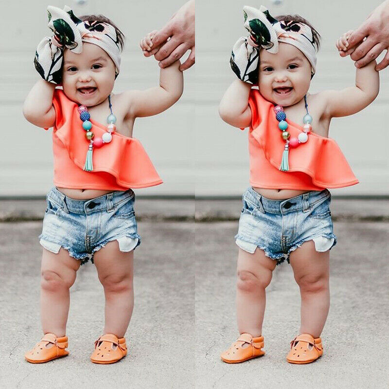 Summer Toddler Kids Girls Clothes One Shoulder Tank Tops+Denim Shorts Set Mini Fashionable Newest