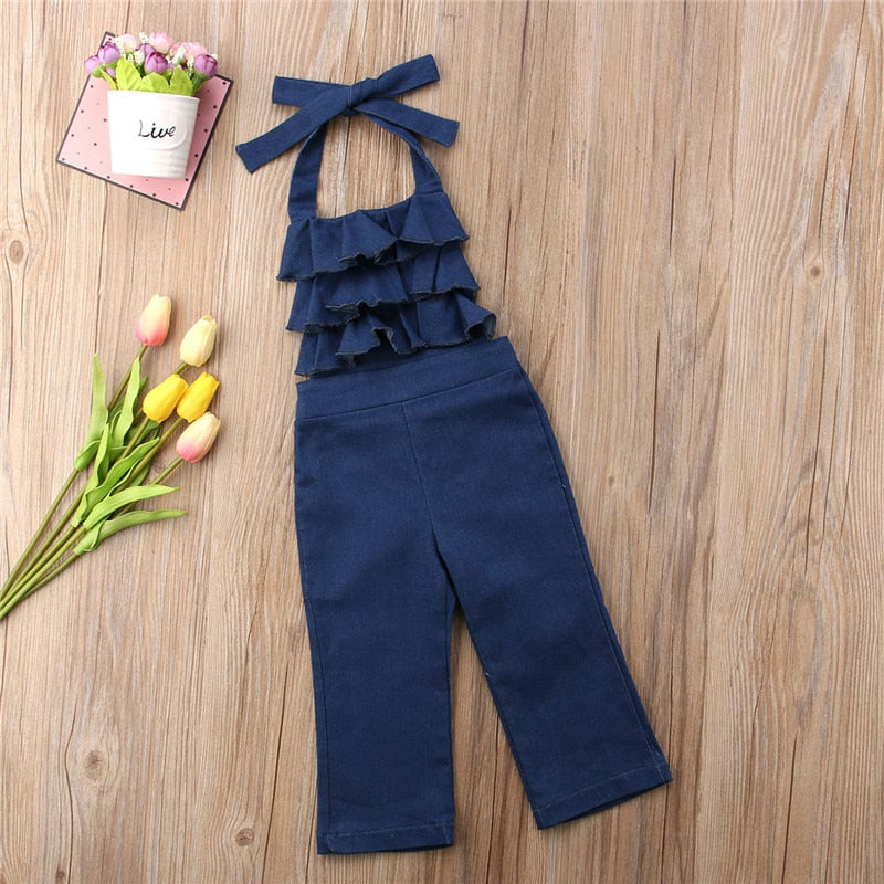 Newest Toddler Kids Girls Denim Bib Pants Open Back Romper Jumpsuit Playsuit Outfits Clothes