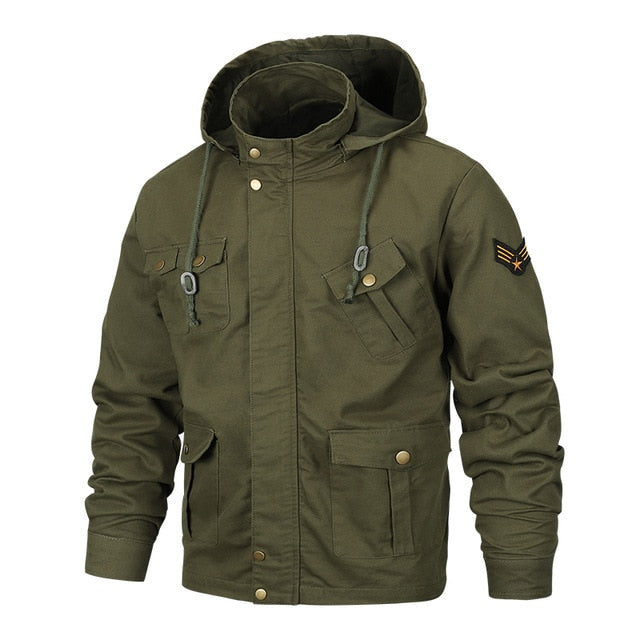 Men's Spring Military Jacket Airsoft Jacket Hooded Coat Men Army Pilot Jacket Air Force Autumn Casual Cargo Jaqueta Workout Coat