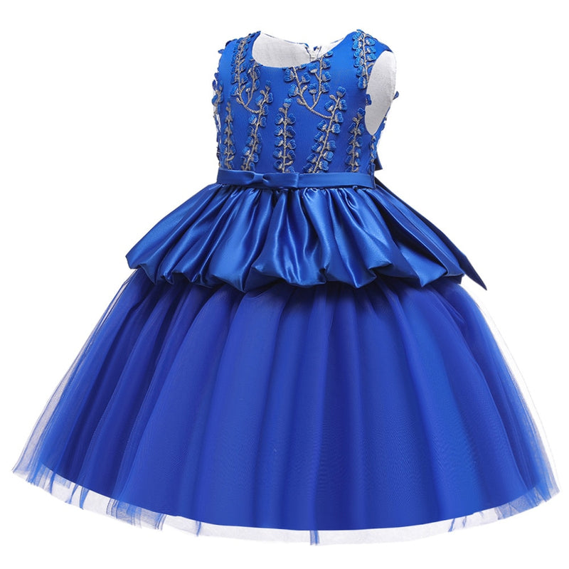 Vintage One-neck PageanTulle Girls Dress Princess sleeveless Satin with Embroidered kids Birthday Party Dress girls
