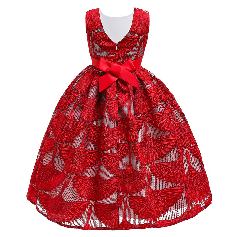 Girls Embroidered Flower Princess Party Lace Dresses With Pearl Jewelry Children Kids Elegant Baby Christmas Children Clothing