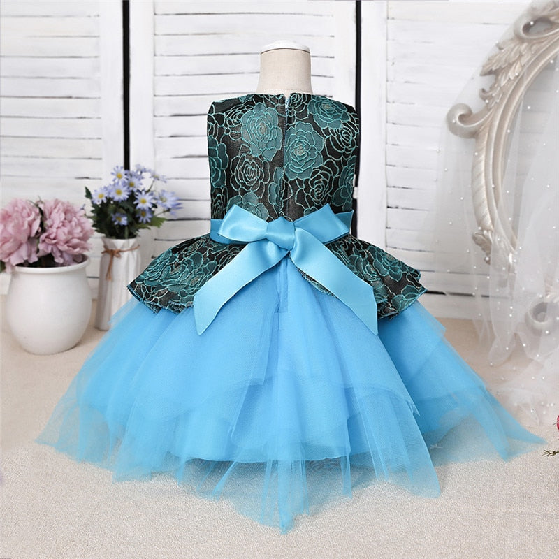 Flower Infantil Dress For Girls 1st Year Birthday Lace Tutu Princess Baptism Dress Baby Girl Party Wedding Vestido Custumes