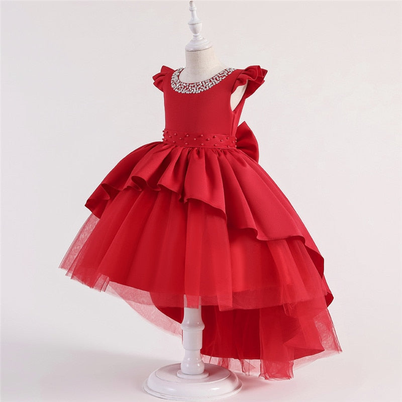 Manual Beads Princess Dress For Girls Wedding Lace Open Back Girls Dress Flower Birthday Party Dress 3-10 Years