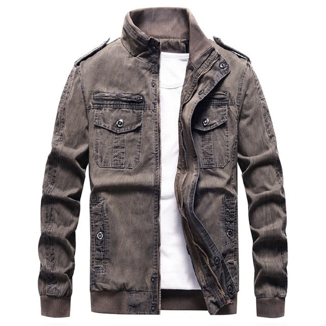 New Military Jacket Men Autumn Men's Denim Jacket Casual Style Army Jackets Male Brand Outwear Bomber Jackets Plus Size