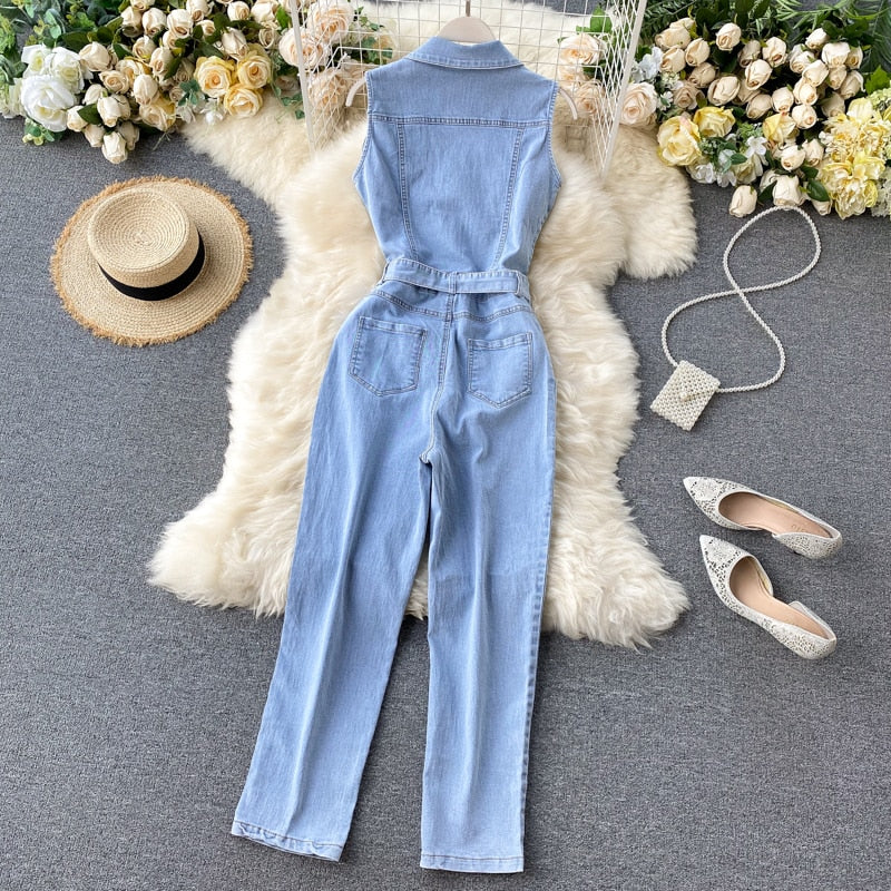 Summer New Denim Jumpsuit Women Sleeveless Pockets Bandage Vintage Straight Denim Overalls Female Street Wear Jumpsuit