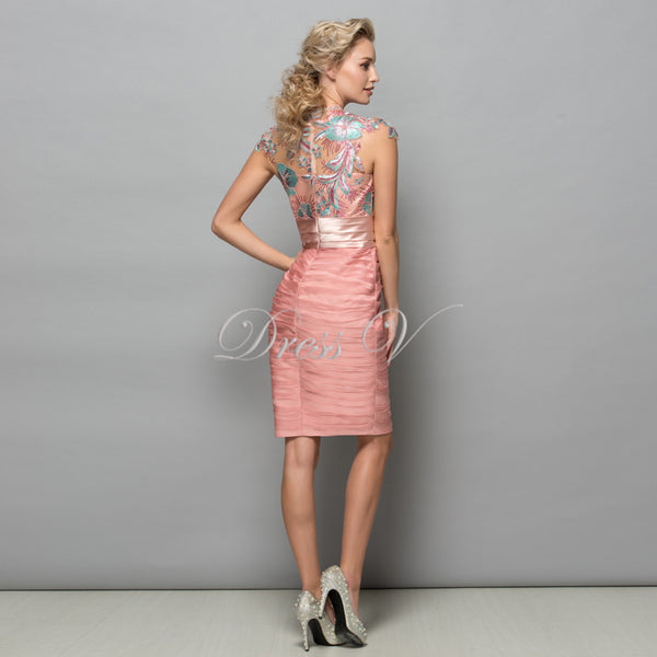 Pearl Pink Chiffon Short Cocktail Dresses Sequins Lace Knee Length Women Prom Dress Designer Formal Holiday Gown