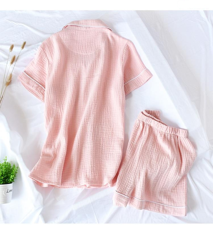 Women Pajamas Sets Summer 100% Cotton Crepe Short-sleeved Shorts Thin Solid Plus Size  Sleepwear Loungewear Clothes