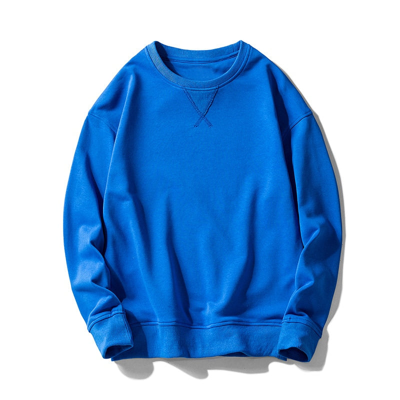 Men Winter Round Neck Solid Color Cotton  Sweatshirts Simple Casual  Elastic Cuff Sweatshirts Men