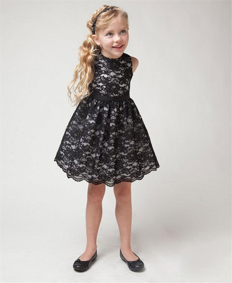 1b1f8153ecc9 Flower Lace Kids Girls Dress for Wedding Black White Princess Girl ...