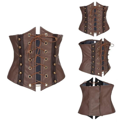 Brown Synthetic Leather Lace Up Sexy Corset Hollow Out Underbust Corset Top Corsets And Bustiers