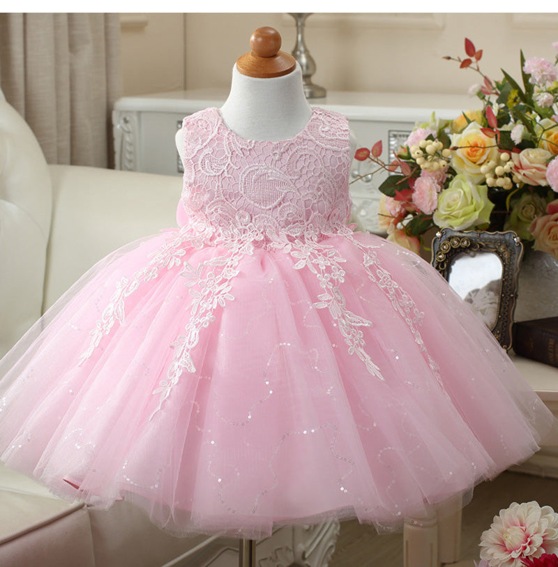 Flower Girls Princess Lace Dress Toddler Baby Wedding Party Pageant Tulle Dresses Child Blingbling Vest Dress Pinkredwhite