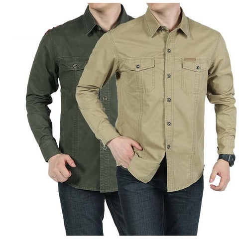 Military Style Men's Shirt Loose  Leisure Cotton Pure Color Shirts Big Size Tops Man wear Clothes Black/Army Green/Khaki M-5XL