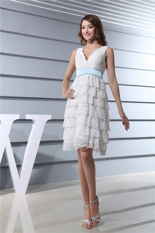 New Design Lace Tiered Mini Tea Length v Neck Blue Belt Cocktail Dresses Party Gown summer dress