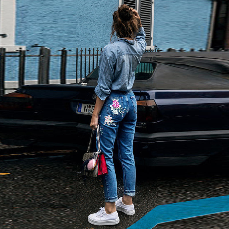 flower embroidery jeans female high waist jeans pants spring summer women bottom jeans femme YB051