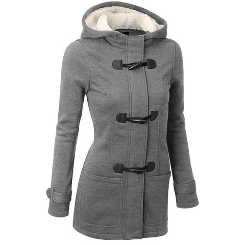 Women Trench Coat Spring Autumn Women's Overcoat Female Long Hooded Coat Zipper Horn Button Outwear