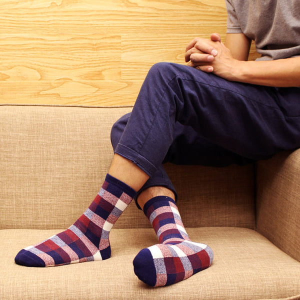 1Pair Colorful Mens Socks Grid Brand Couple Winter Socks For Men Chaussette Homme Calcetines Hombre Colorful Socks Men